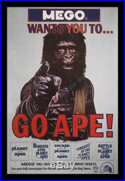 1-OF-A KIND 27x41 ROLLED 1974 MEGO TOY MINT Planet of the Apes MOVIE POSTER