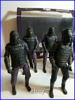 2014 Neca Reel Toys Planet Of The Apes Gorilla Soldier Lot Of 6 With Accessories