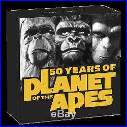 2018 PLANET OF THE APES 50th ANNIVERSARY 2oz Silver Antiqued $2 Coin