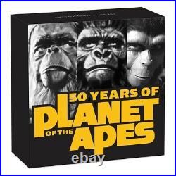 2018 Planet of the Apes 50 years 2OZ Silver Antiqued Coin Perth Mint