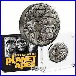 2oz Silver Antiqued COIN Planet of the Apes 50th Anniversary LTD Mintage 2000