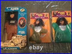 3 Vintage Planet of the apes lot toys plush puppet