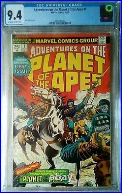 ADVENTURES ON PLANET OF THE APES #1 CGC 9.4 OW-W. 1975 Buckler, 1st comic app