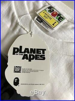 A BATHING APE T-shirt PLANET OF THE APES Rise Of Liberty Size Large White