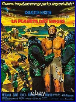 Affiche Pliée 60x80cm LA PLANÈTE DES SINGES (PLANET OF THE APES) 1968 Heston TBE