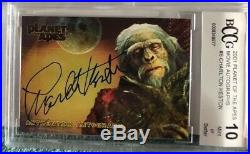 CHARLTON HESTON 2001 Toppa Planet of the Apes Movie Autograph Ben Hur BCCG 10