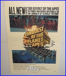 CONQUEST OF THE PLANET OF THE APES vtg orig 1972 MOVIE POSTER B pota LINEN EXC