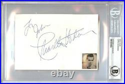 Charlton Heston Signed Autographed 4X6 Index Card Planet of the Apes Beckett BGS