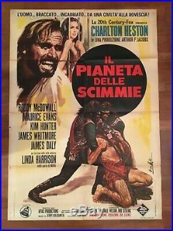 DD MANIFESTO, 2F IL PIANETA DELLE SCIMMIE Planet of the Apes, C. HESTON 1 EDIZ. 1968