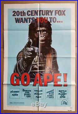 GO APE 1974 Genuine 1-sheet poster All 5 Planet Of The Apes Film FESTIVAL 74/193