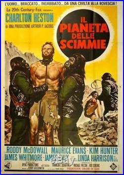 IL PIANETA DELLE SCIMMIE Planet of the Apes RARO MANIFESTO 4F 1a ED. 1968 POSTER