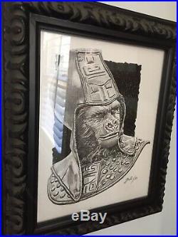 Mark Maddox Beautiful original- Planet Of The Apes General Urus Drawing Framed