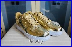 New Unisex Air Force 1 Metallic Gold Sp Leather Trainers Limited Sneaker UK 8