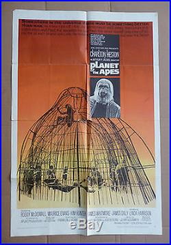 PLANET OF THE APES 1968 Genuine 1-sheet poster Charlton Heston Rod Serling 68/50