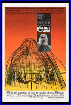 PLANET OF THE APES 1968 NearMINT MOVIE POSTER! ARCHIVAL MUSEUM LINEN-MOUNTED
