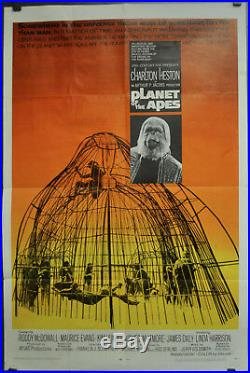 PLANET OF THE APES 1968 ORIG 27X41 MOVIE POSTER CHARLTON HESTON RODDY McDOWALL
