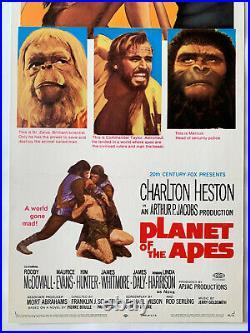 PLANET OF THE APES 1968 Original RARE 14x36 Insert movie poster Heston Schaffner