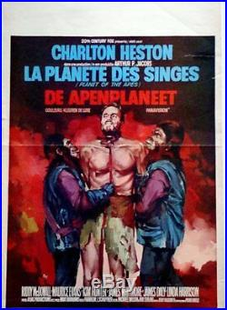 PLANET OF THE APES Belgian movie poster CHARLTON HESTON RAY ELSEVIERS 1968