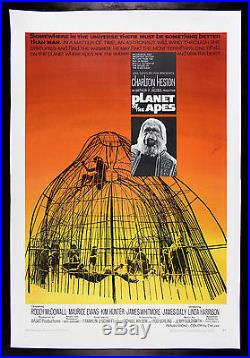 PLANET OF THE APES CineMasterpieces ORIGINAL MOVIE POSTER 1968 SCI FI LINEN