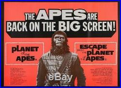 PLANET OF THE APES DOUBLE BILL (1972) ORIGINAL UK Quad POSTER- 30 X 40 INCHES