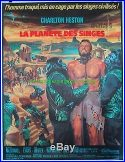 PLANET OF THE APES MOVIE POSTER 47x63 French Grande On Linen CHARLTON HESTON