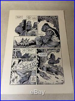 PLANET of the APES original comic art GRUNT SHOT KILLED by SOLDIERS, OLLO, 1990