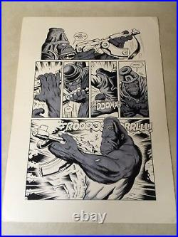 PLANET of the APES original comic art STUNNING APE FIRES MACHINE GUN, 1990