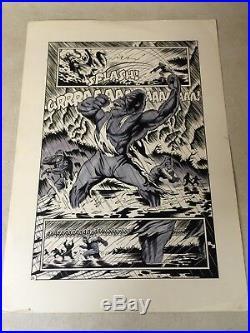 PLANET of the APES original comic art WILD CHEST POUNDING APE SPLASH, 1990! 1