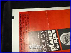 Planet Of The Apes Charlton Heston Sci Fi Original Folded One Sheet Poster