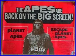 Planet Of The Apes Double Bill- 1972 Original Uk Quad Cinema Poster. 30 X 40