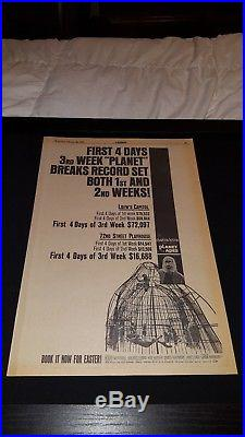 Planet Of The Apes Rare Original 1968 Box Office Promo Poster Ad Framed