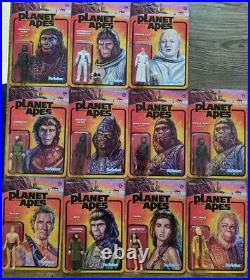 Planet of The Apes Reaction 3.75 action figure set of 11 Super 7 Wave 1 & 2
