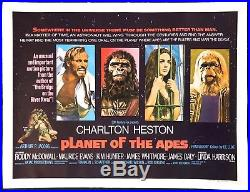 Planet of the Apes 1968 Original Movie Poster British Quad Linen Backed 30x40