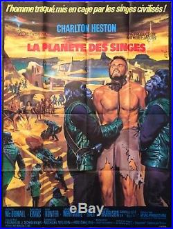 Planet of the Apes 1968 Original Movie Poster French Grande 47x61 C9 Near Mint
