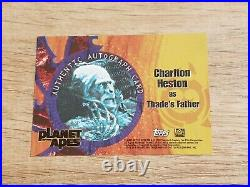 Planet of the Apes Charlton Heston as Thade's Autograph Card Topps 2001 Auto