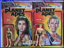 Planet of the Apes Reaction Super 7 complete set 3.75 figures with Lawgiver