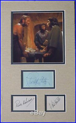 Planet of the Apes Signed Autographed Matted Piece 3 Sigs PSA/DNA #AD00044