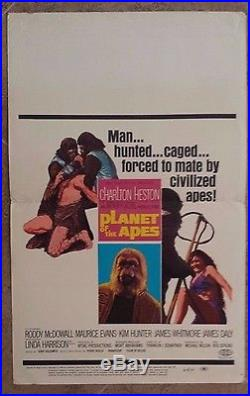 Planet of the Apes Window Card 14 x 22 1968 Movie Charlton Heston Roddy McDowall