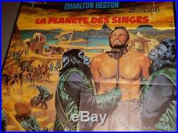 RARE Original LARGE 46x61 French MOVIE POSTERPlanet Of The Apes-Charlton Heston