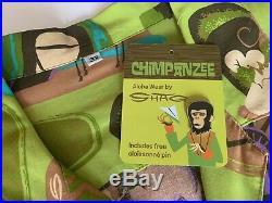 Rare SHAG Josh Agle Chimpanzee Aloha Shirt Planet of the Apes Tiki with Pin 3X