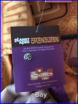 Rare SHAG Josh Agle Orangutan Aloha Shirt Planet of the Apes Tiki with Pin Large