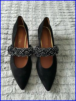 Russell and Bromley Jewelled Black Real Suede With Silver Court Shoe Size 6