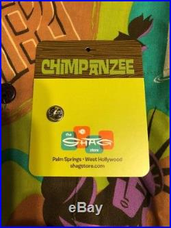 SHAG Josh Agle planet of the apes chimpanzee Aloha Tiki Shirt New XL
