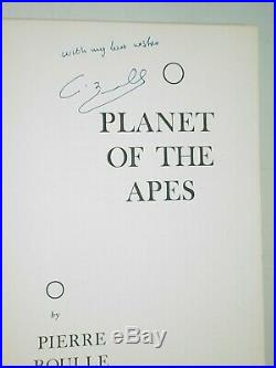 Super Rare Tru 1st! PLANET OF THE APES by Pierre Boulle(HC)VG-F+ Signed & Min