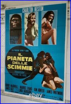 THE PLANET OF THE APES, 1968 (RR1970) Charlton Heston Italian 39x55