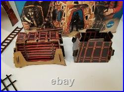 Vintage 1967 Mego Planet The Apes Fortress Playset W Box & Wagon & Village