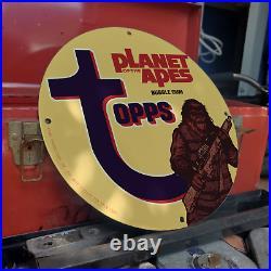 Vintage 1967 Topps Bubble Gum''Planet Of The Apes'' Porcelain Gas & Oil Sign
