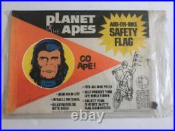 Vintage 1974 Planet of the Apes Add-On-Bike Safety flag-Lot Set 4 unused sealed