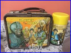 Vintage 1974 Planet of the Apes metal lunchbox with thermos