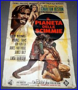 Vintage MOVIE POSTER Large ITALY 1968 PLANET OF THE APES 39x55
